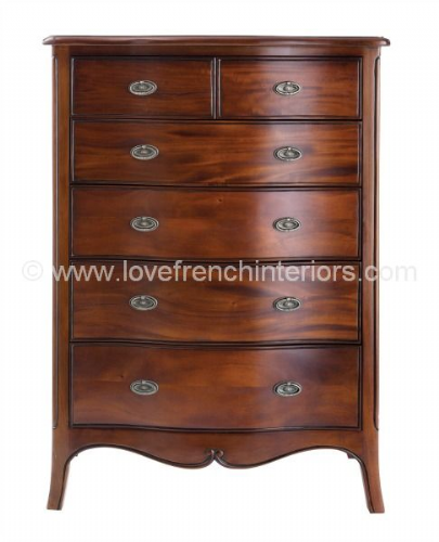 Paris Mahogany Six Drawer Chest